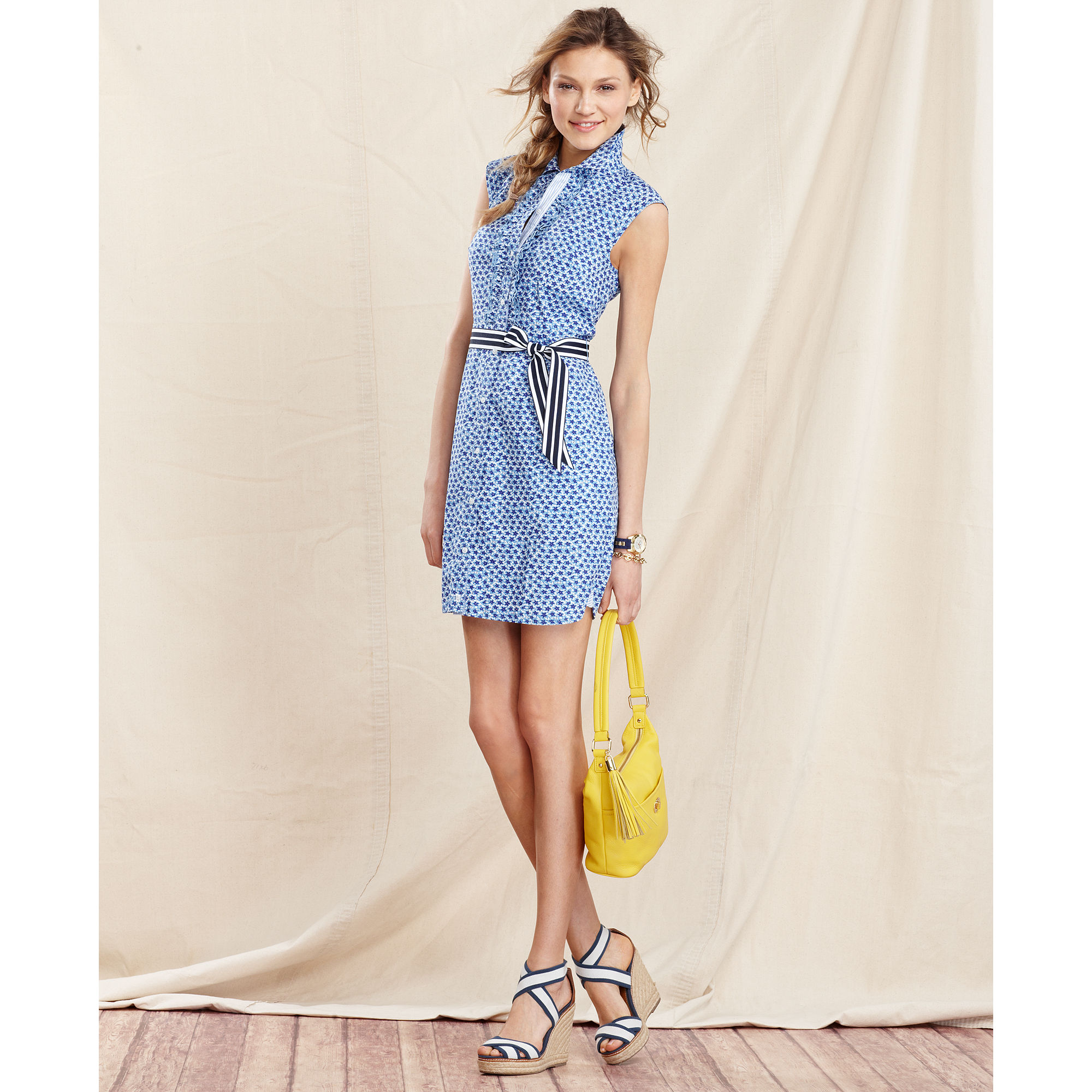 Lyst - Tommy Hilfiger Sleeveless Belted Shirt-dress in Blue