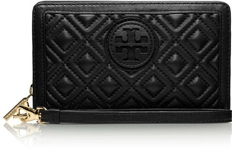 Tory Burch Marion Quilted Smart Phone Wristlet In Black Lyst