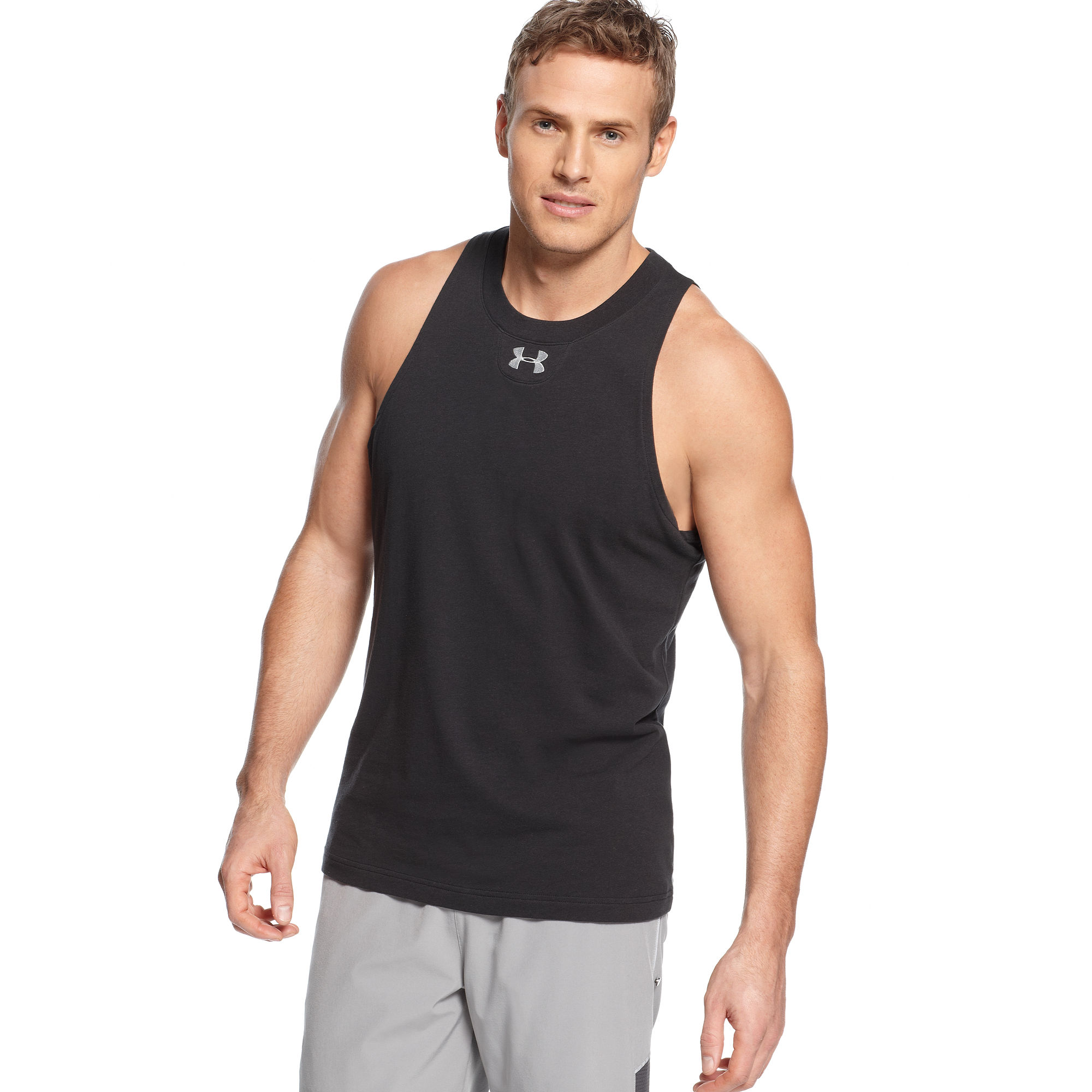 under armour charged cotton tank top in gray for men lyst. Black Bedroom Furniture Sets. Home Design Ideas