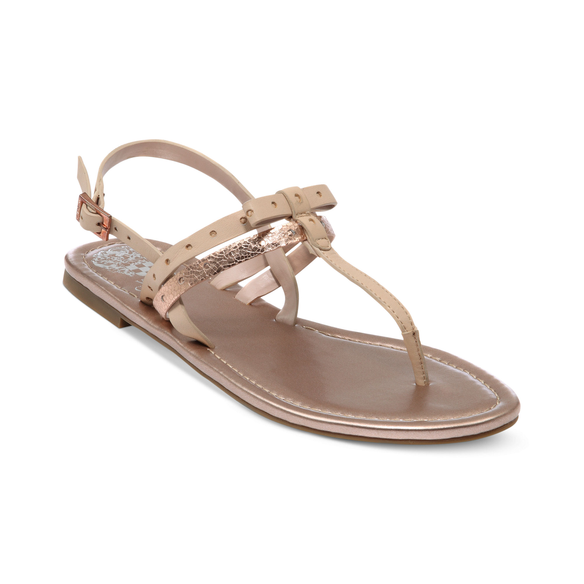 Vince Camuto Magda Flat Thong Sandals In Beige Black