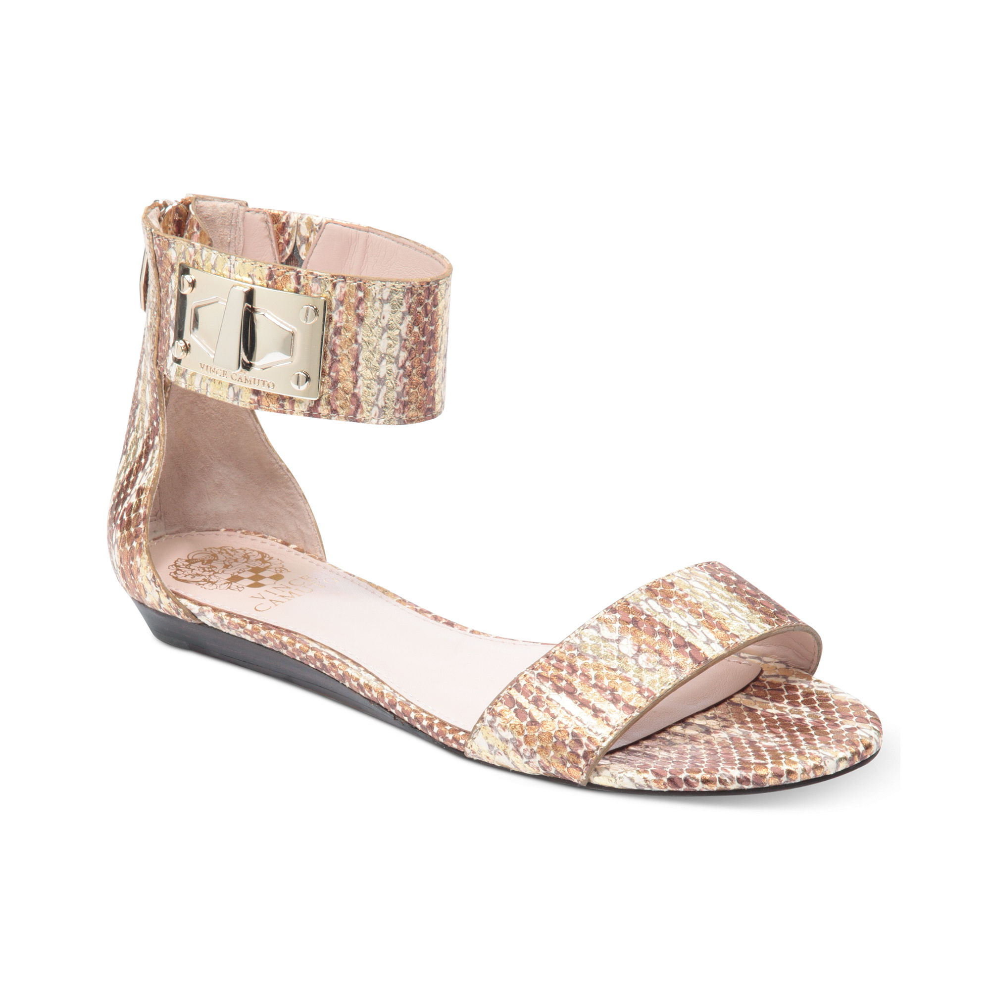 Vince Camuto Ryker Flat Sandals In Gold Metallic Lyst