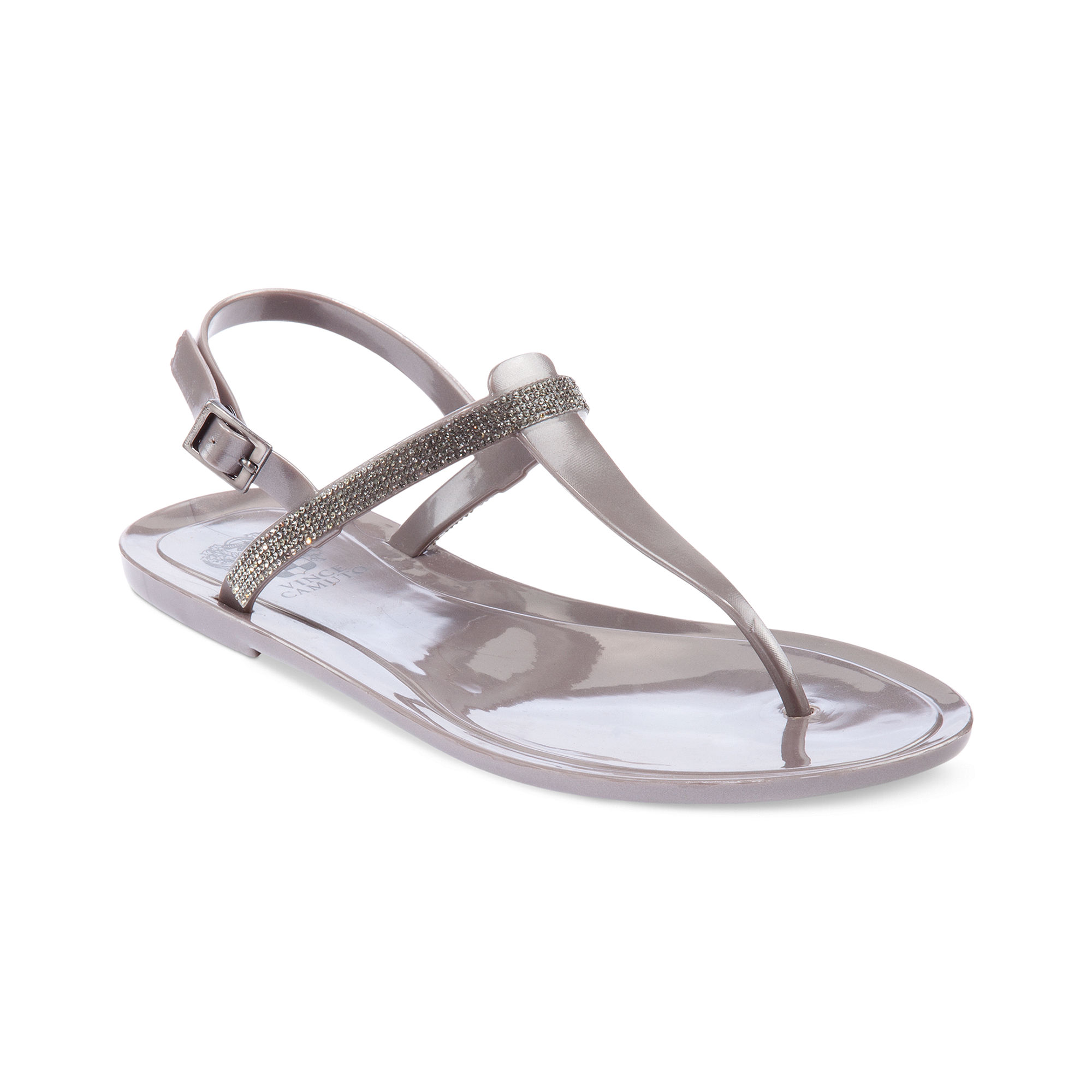 Vince Camuto Udele Flat Thong Jelly Sandals In Silver