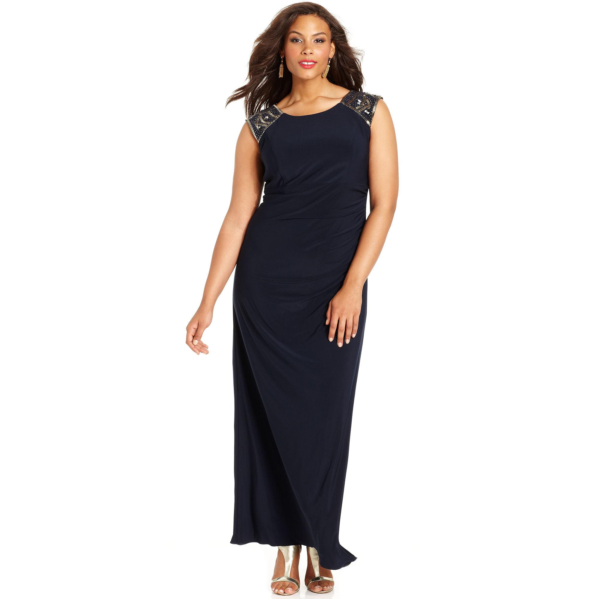 Xscape Xscape Plus Size Dress Capsleeve Beaded Gown In