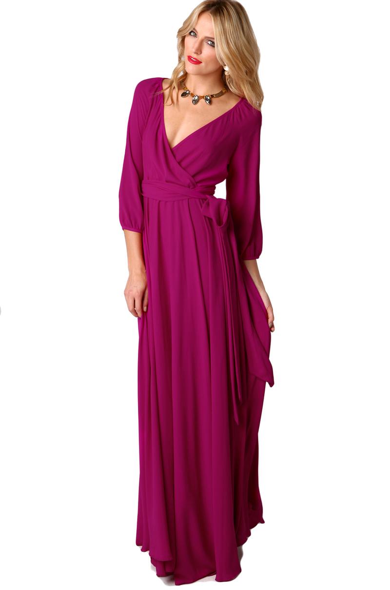 Akira Black Label Long Sleeve Wrap Maxi Dress In Purple | Lyst