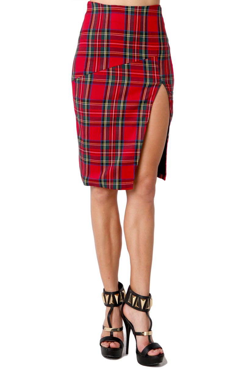 Lyst Akira Black Label Slit Thigh Pencil Skirt In Red