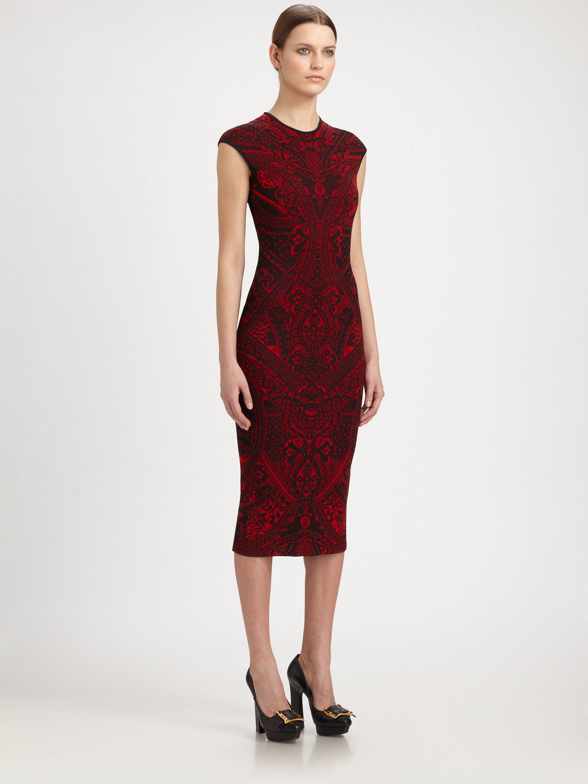 Lyst Alexander Mcqueen Lace Jacquard Knit Dress In Red
