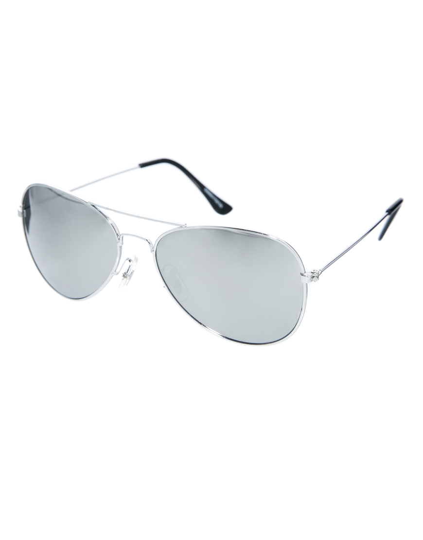 Lyst Asos Silver Aviator Sunglasses With Mirror Lens In