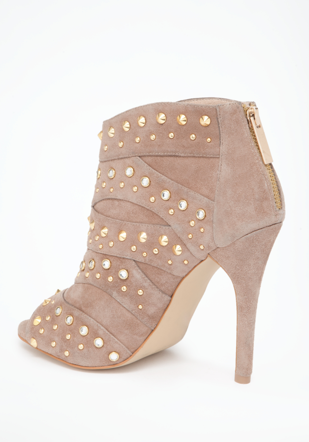 Bebe Gale Studded Peep Toe Boots In Natural Lyst