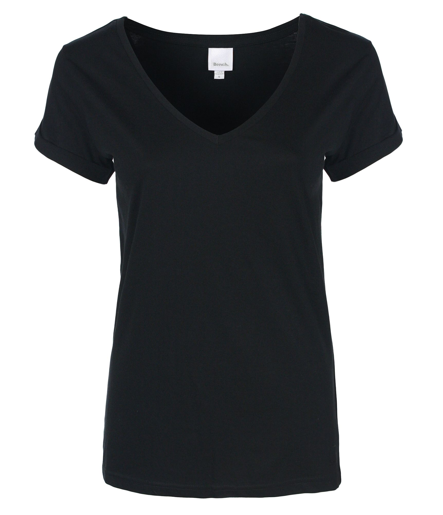 Bench womens the v tee v neck t shirt in black lyst Womens black tee shirt