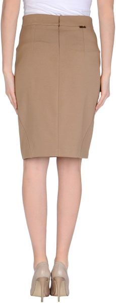 blugirl blumarine knee length skirt in khaki lyst