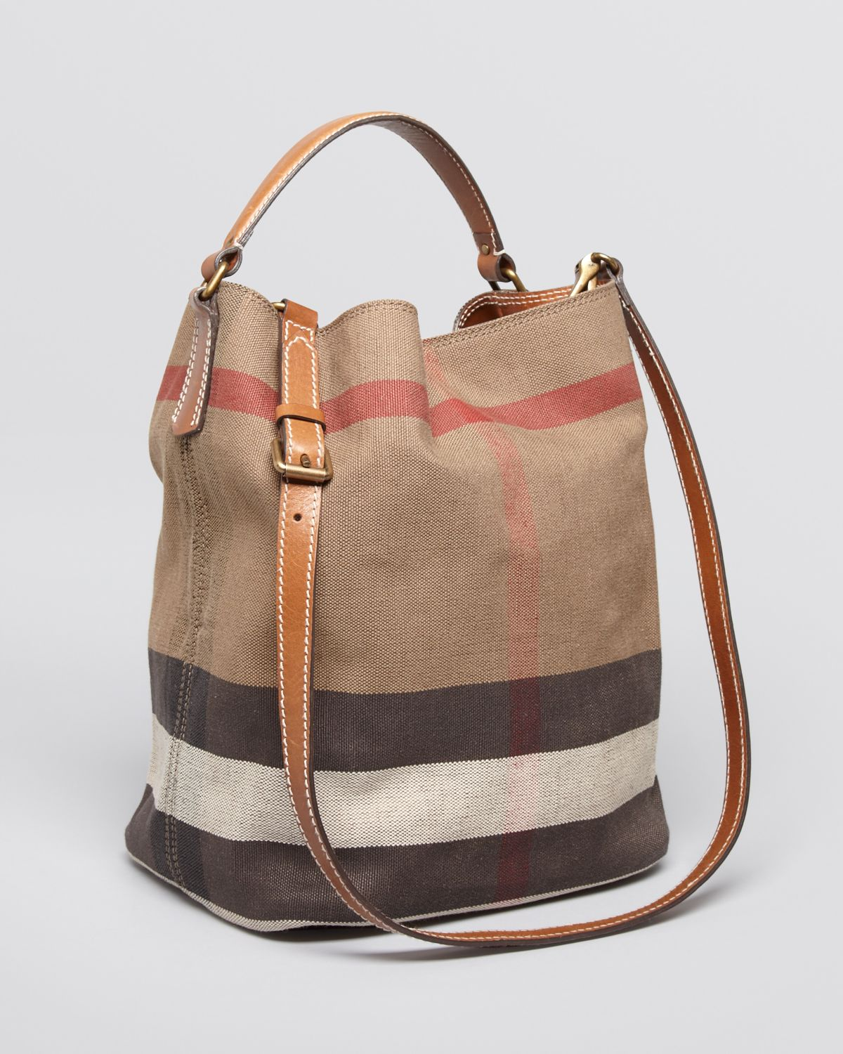 And Ashby Leather Medium Canvas Burberry In The Check Black OwP80nk