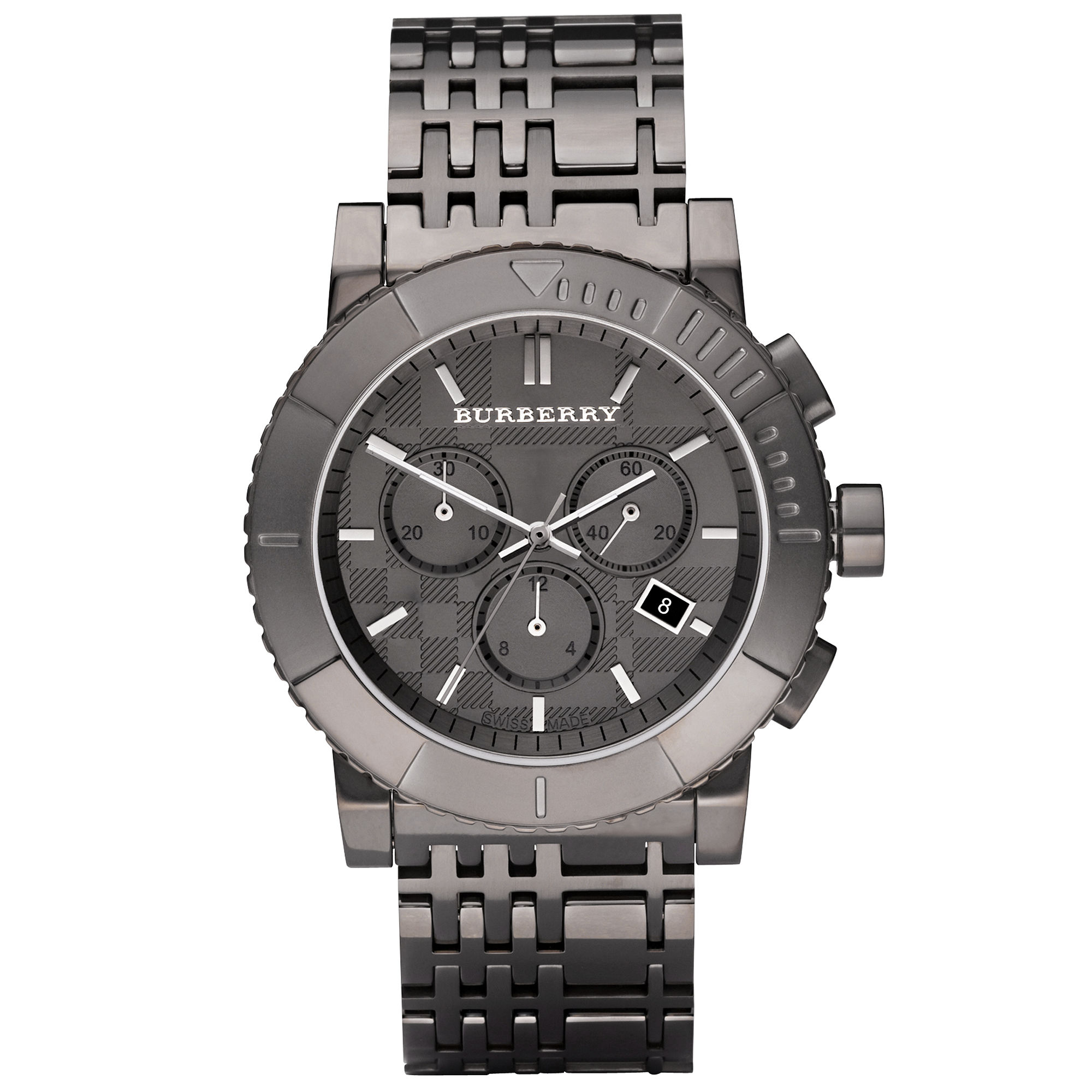 burberry mens chronograph gray ion plated stainless steel