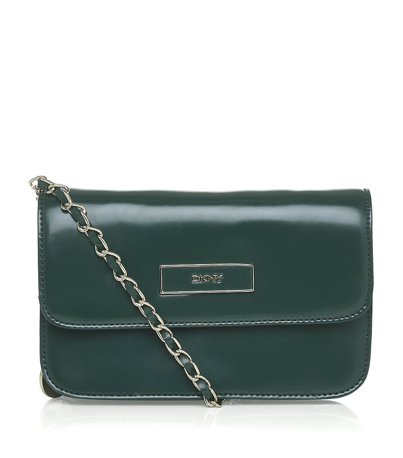 dkny hudson small crossbody bag in green gold lyst