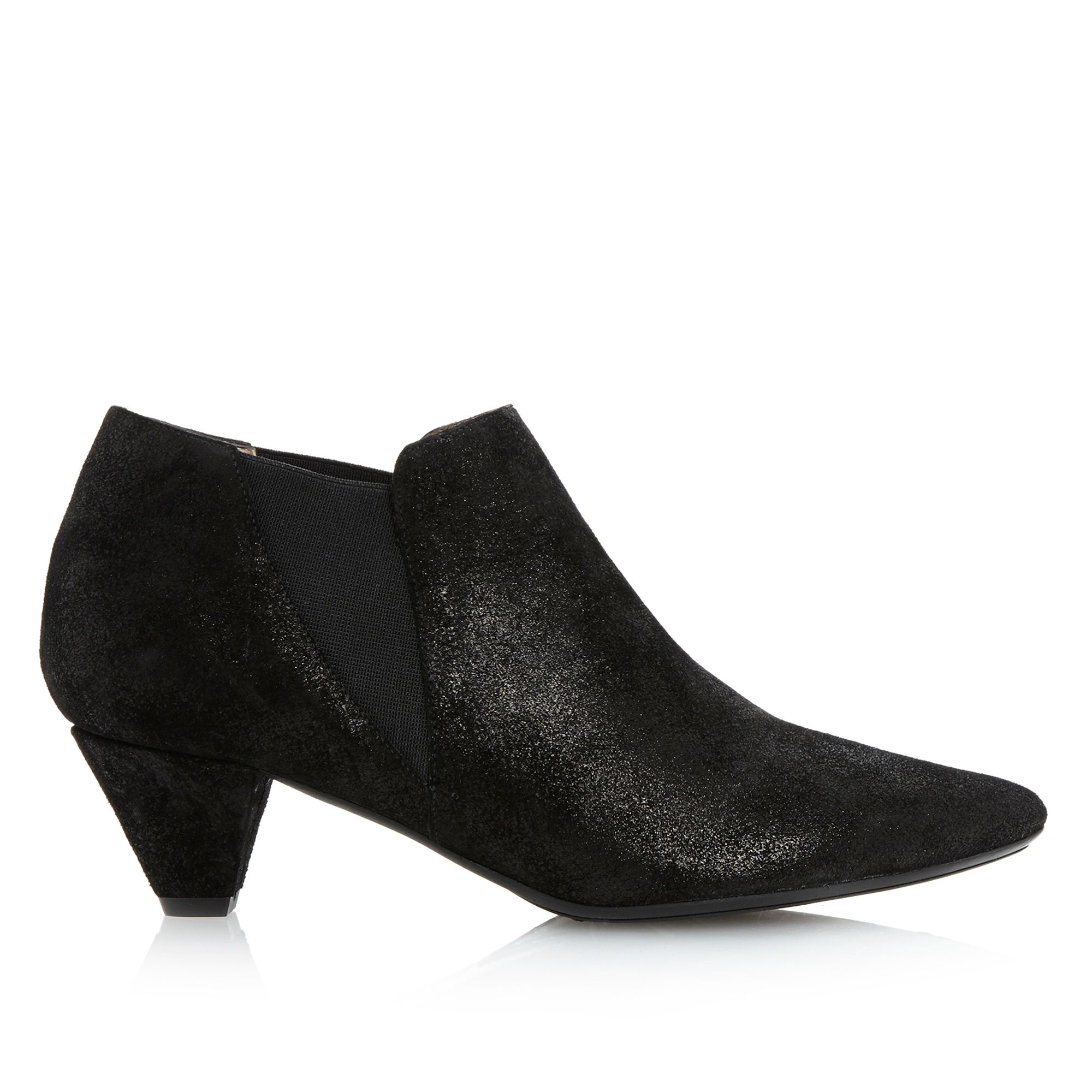 Dune black Saxe Pointed Kitten Heel Ankle Shoe Boots in Black | Lyst