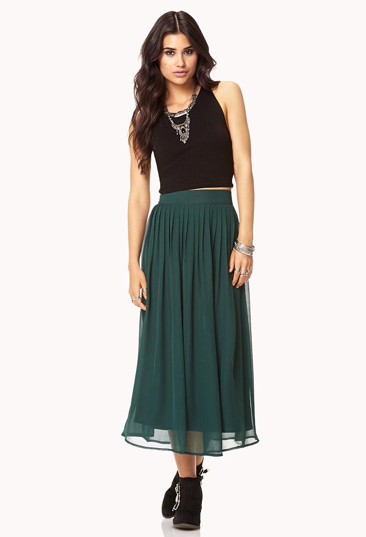 Forever 21 Chiffon Midi Skirt in Green | Lyst