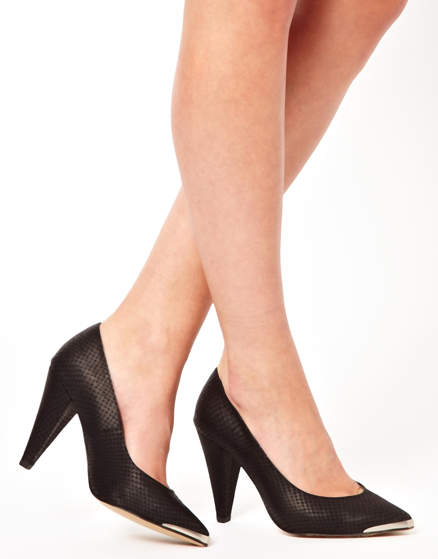 507b17b052d Lyst - Ganni Rizzo Cone Heel Pointed Toe Detail Pump in Black