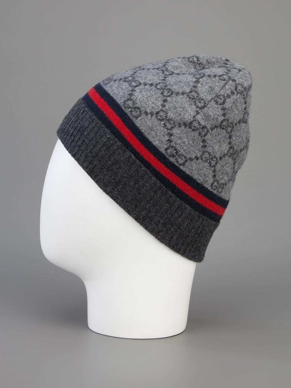 gucci monogram beanie hat in gray