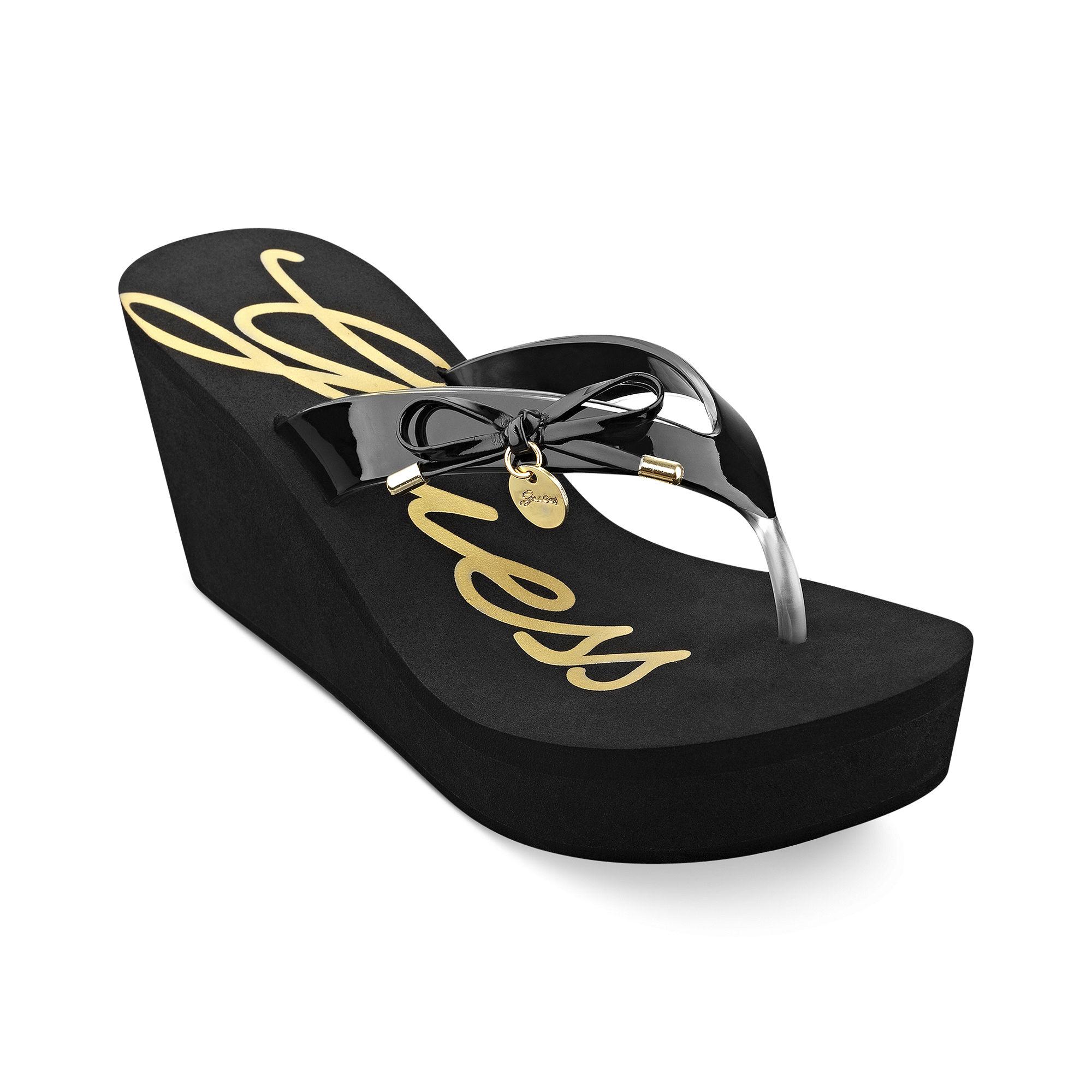 837d47296be0b1 Lyst - Guess Shoes Sorliea Platform Wedge Thong Sandals in Black