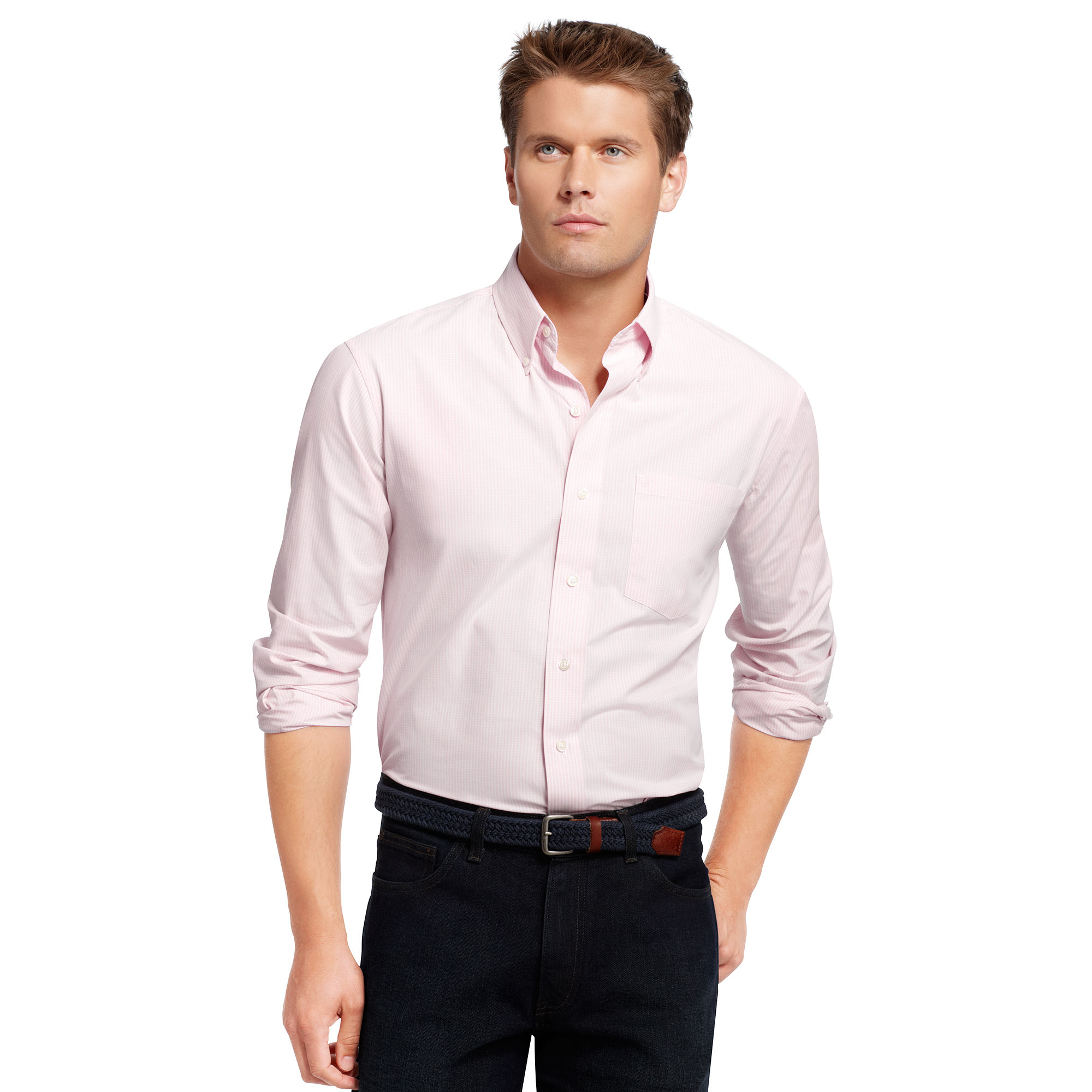 Izod big and tall shirt long sleeve essential mini for Izod big and tall shirts