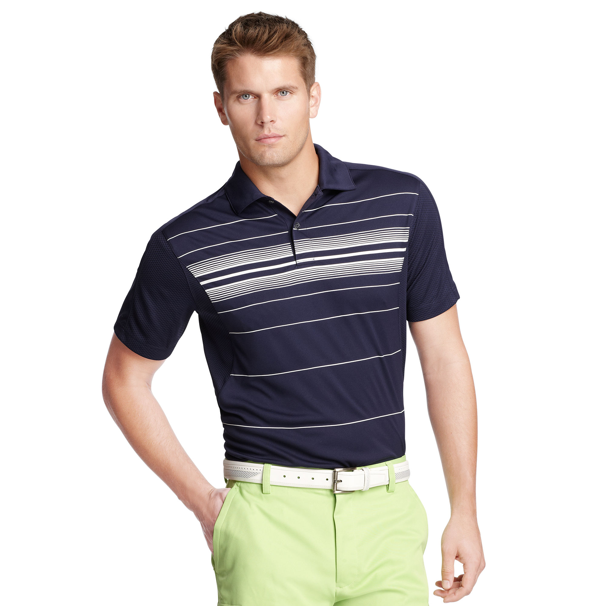 Izod slim fit piece stripe polo shirt in blue for men for Slim fit golf shirts