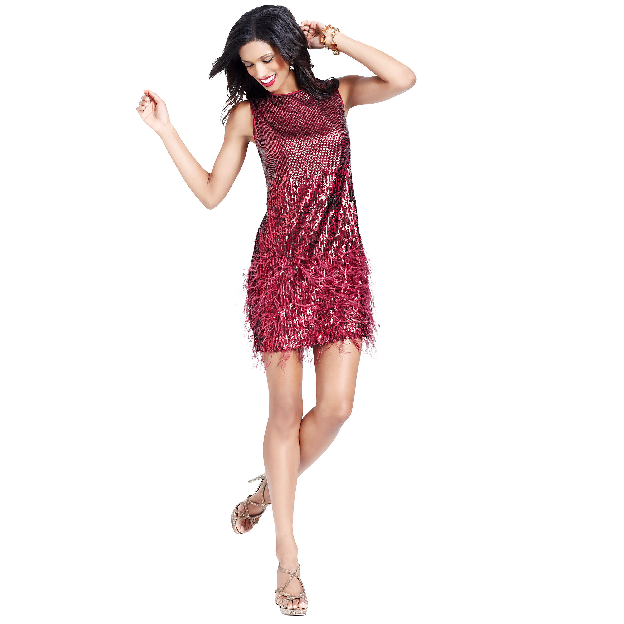 Jessica simpson Sleeveless Sequin Feather Cocktail Dress in Red - Lyst