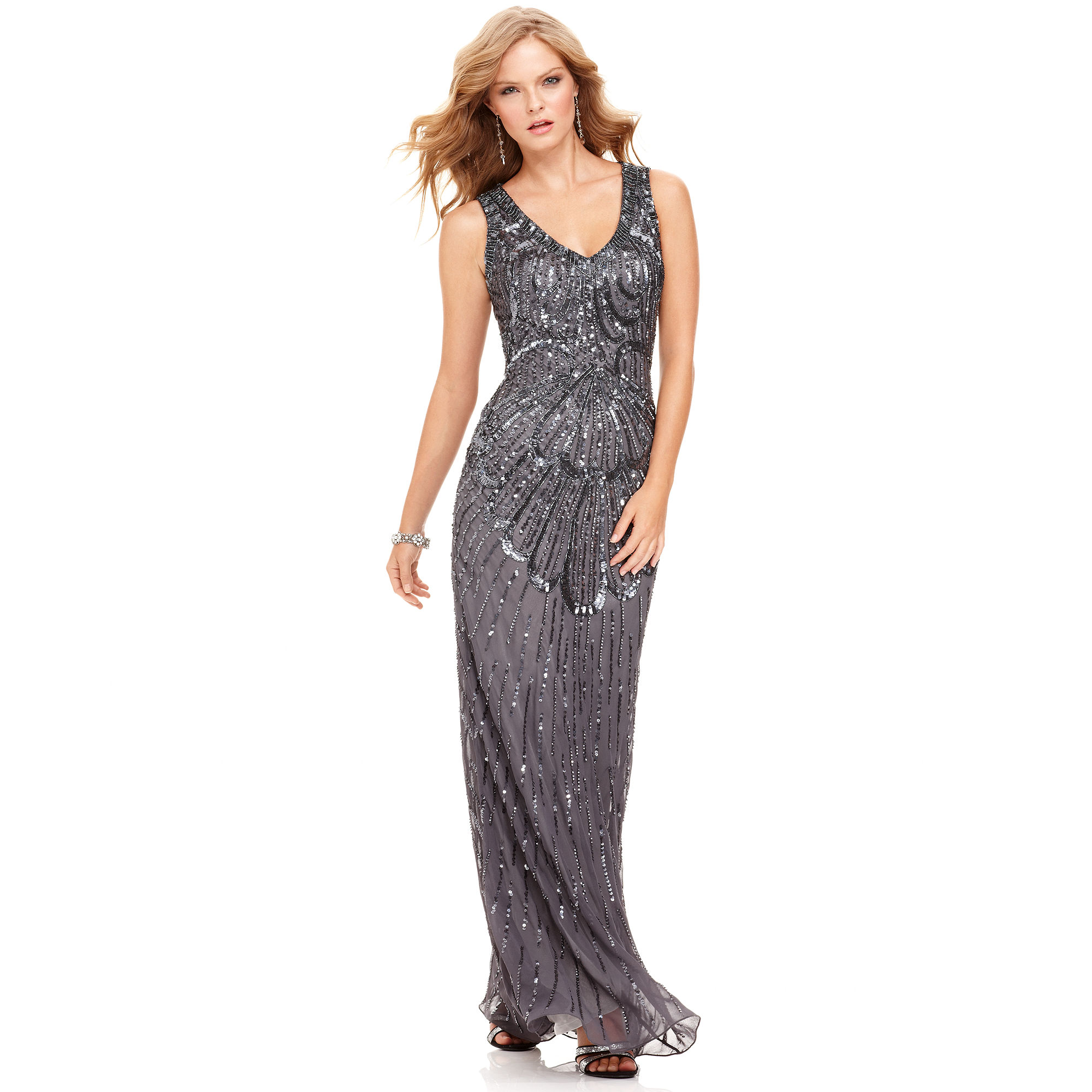 Lyst - Js Collections Fan Sequin Dress in Gray