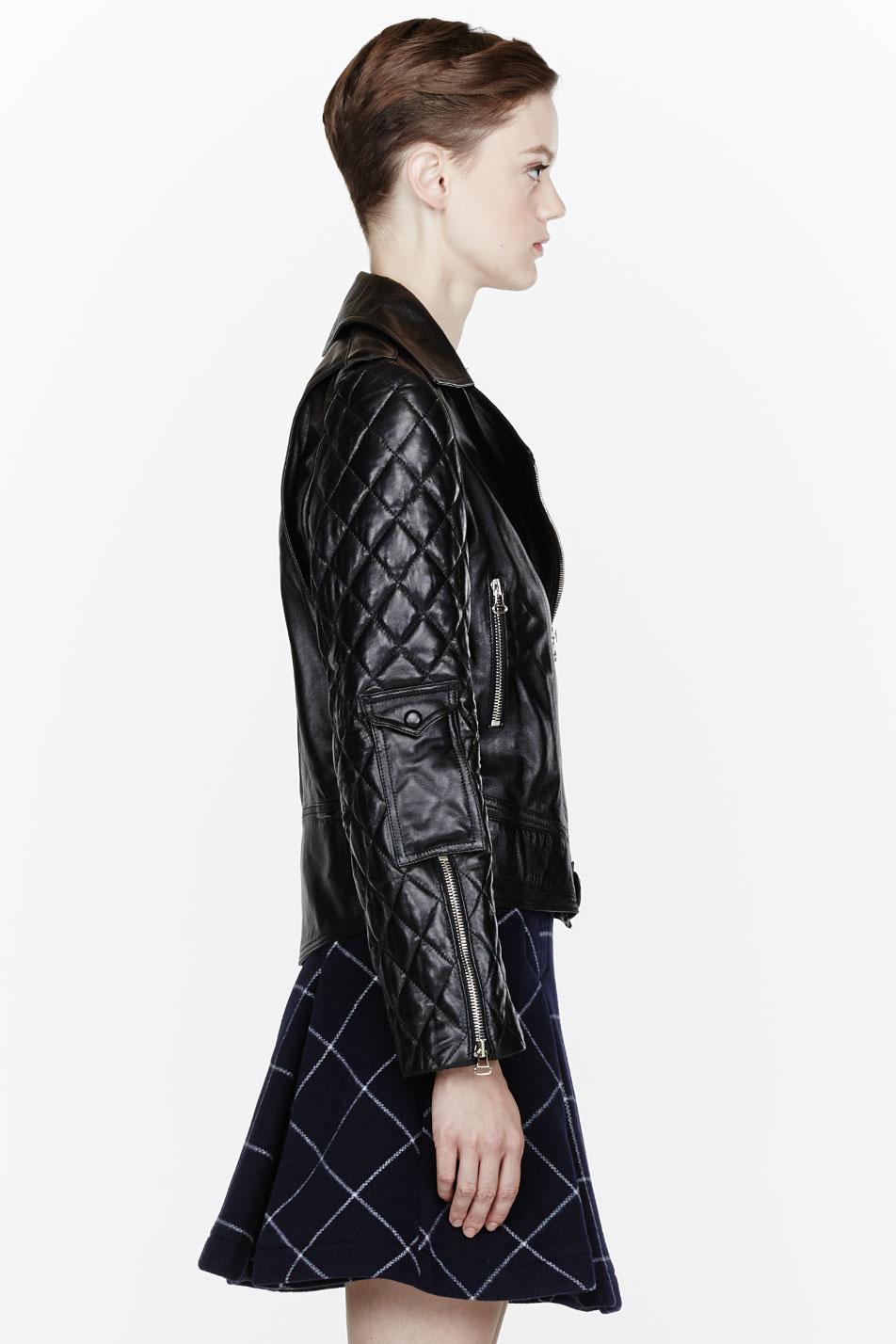 J.w.anderson Black Leather Quilted Biker Jacket in Black