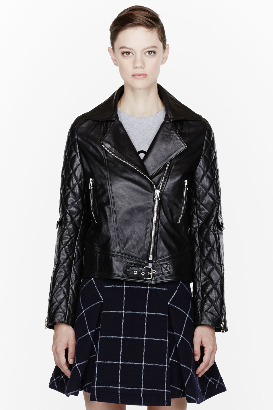 JW Anderson Black Leather Quilted Biker Jacket - Lyst