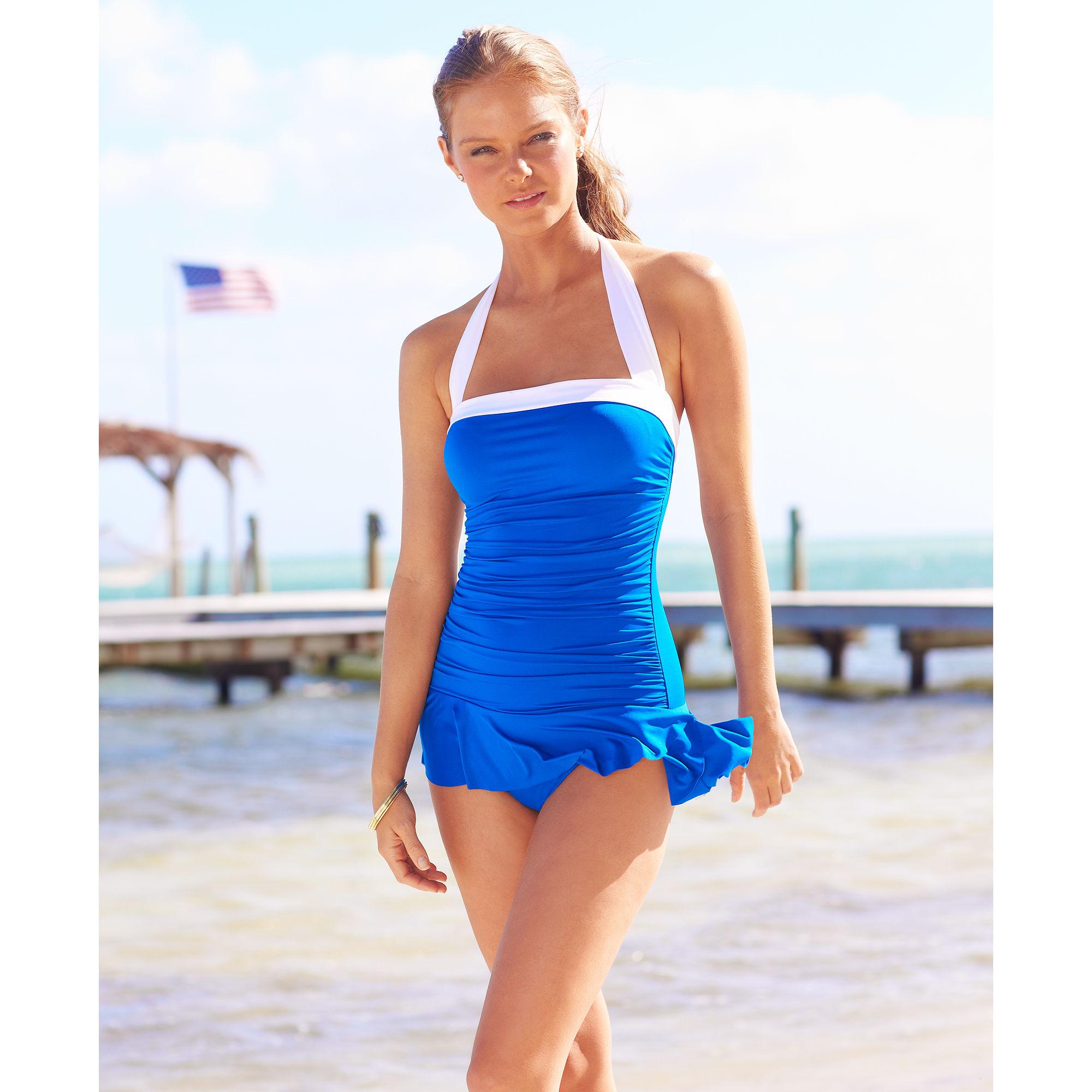 43cf16b6 Lauren by Ralph Lauren Blue Halter Ruched Tummy Control Swimdress