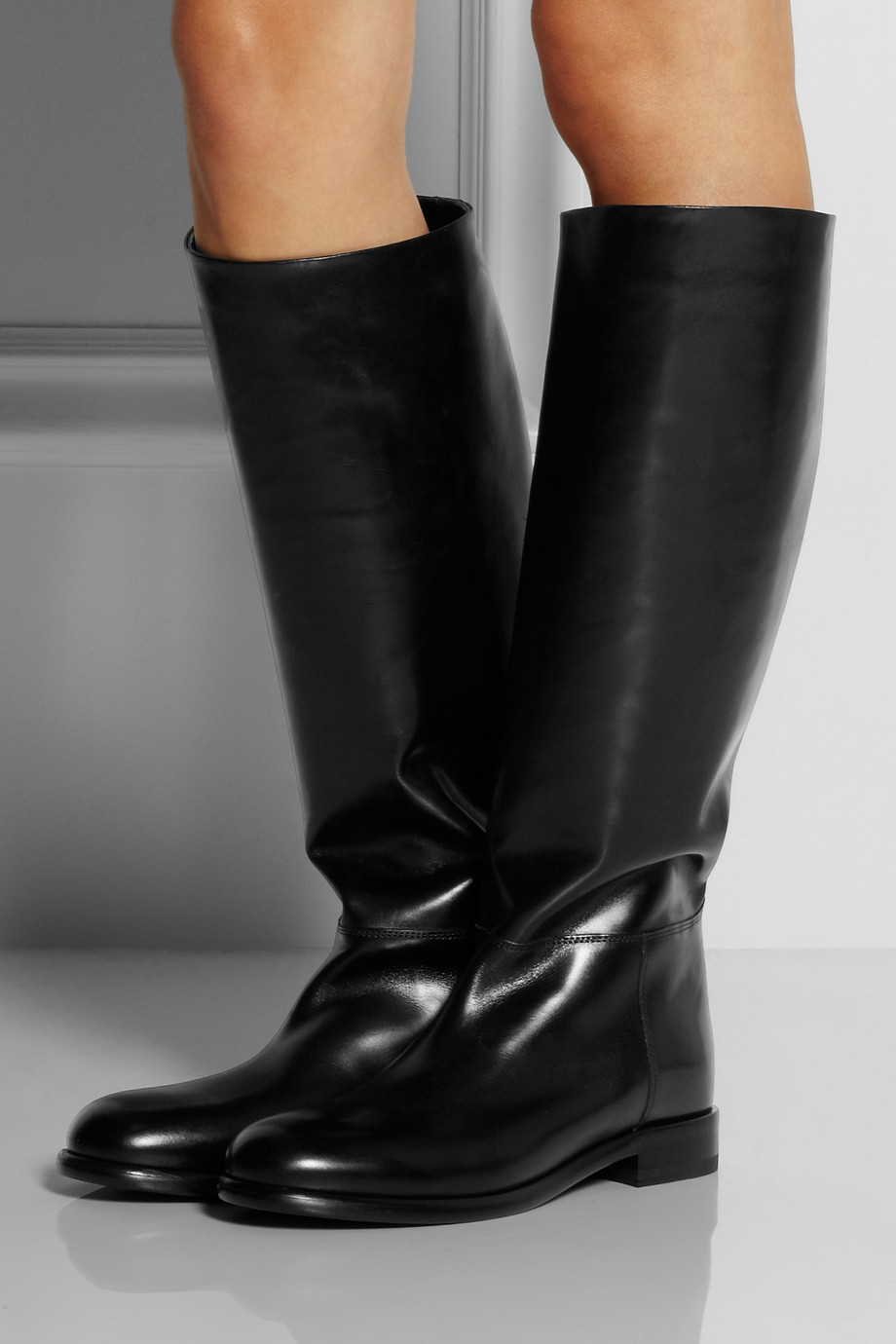 Marni Leather Knee Boots In Black Lyst