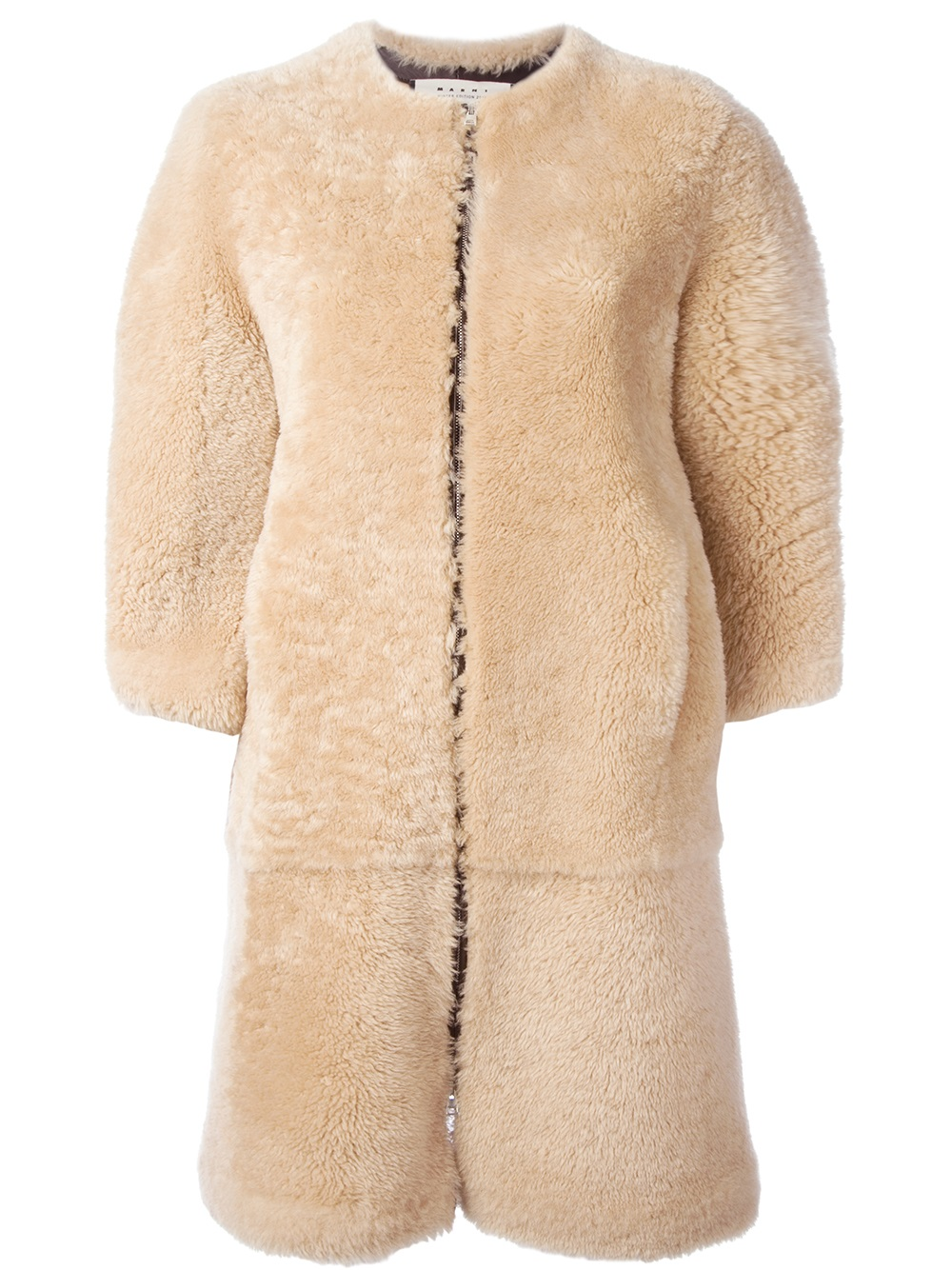Marni Lamb Fur Coat in Natural | Lyst