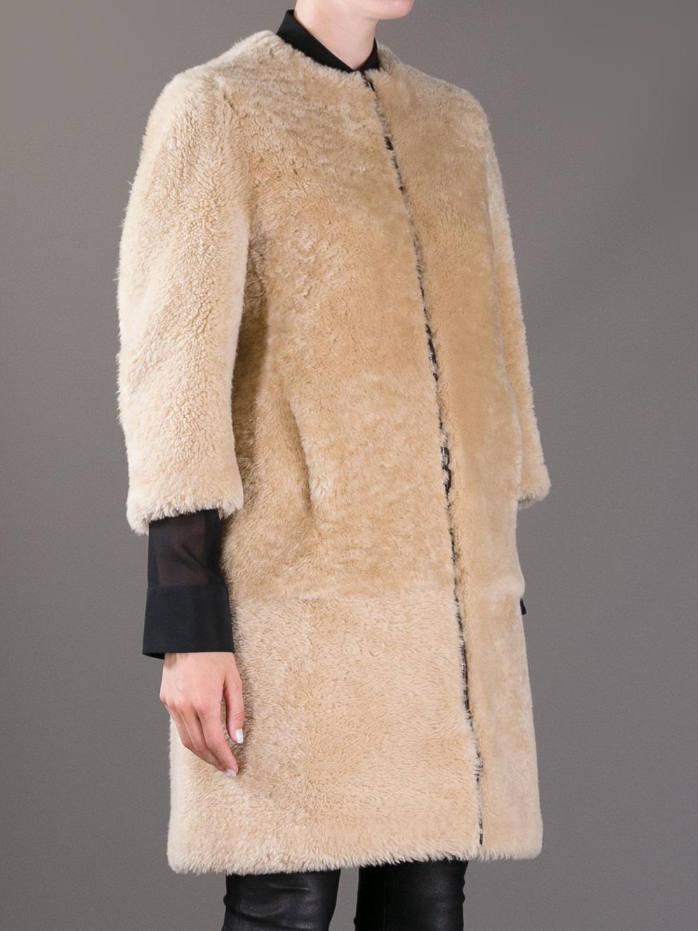Marni Lamb Fur Coat in Natural | Lyst