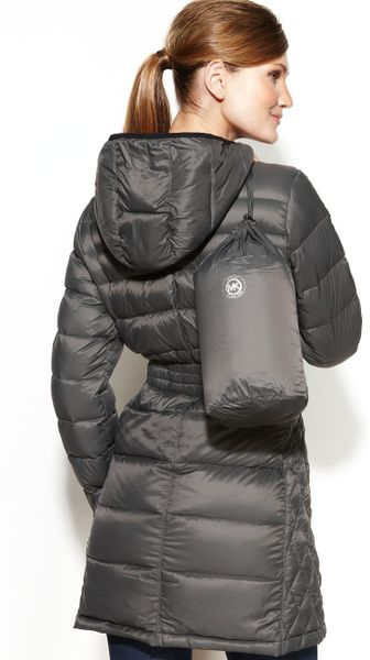 Michael Kors Hooded Quilted Down Packable Puffer In Smoke