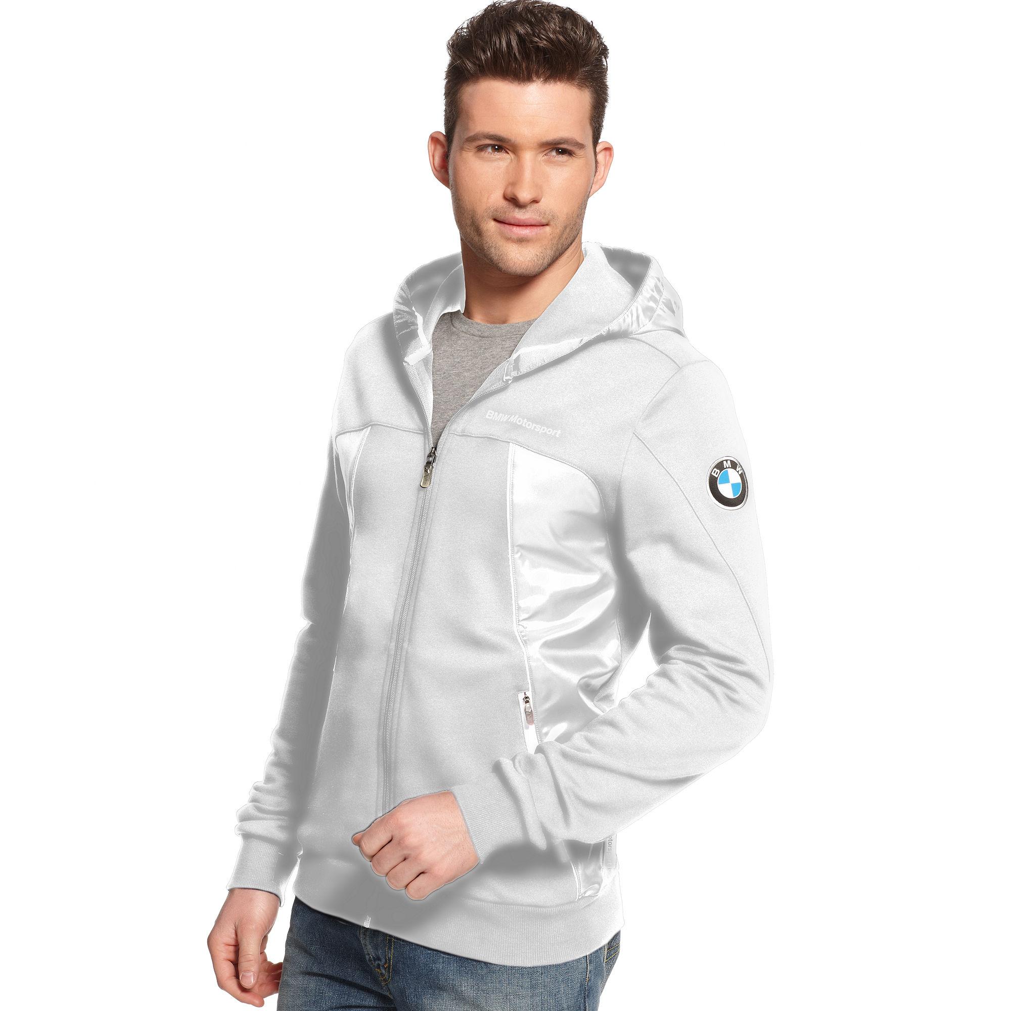 lyst puma bmw hooded sweat jacket in gray for men. Black Bedroom Furniture Sets. Home Design Ideas