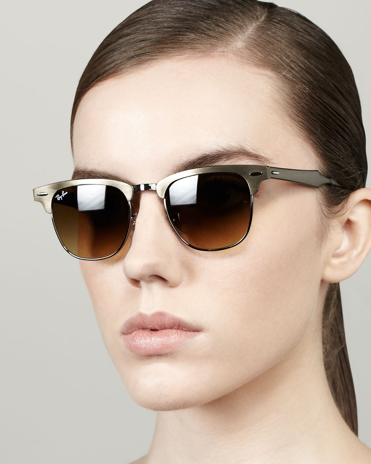 64736c54a6 Lyst - Ray-Ban Metal Frame Clubmaster Sunglasses in Metallic