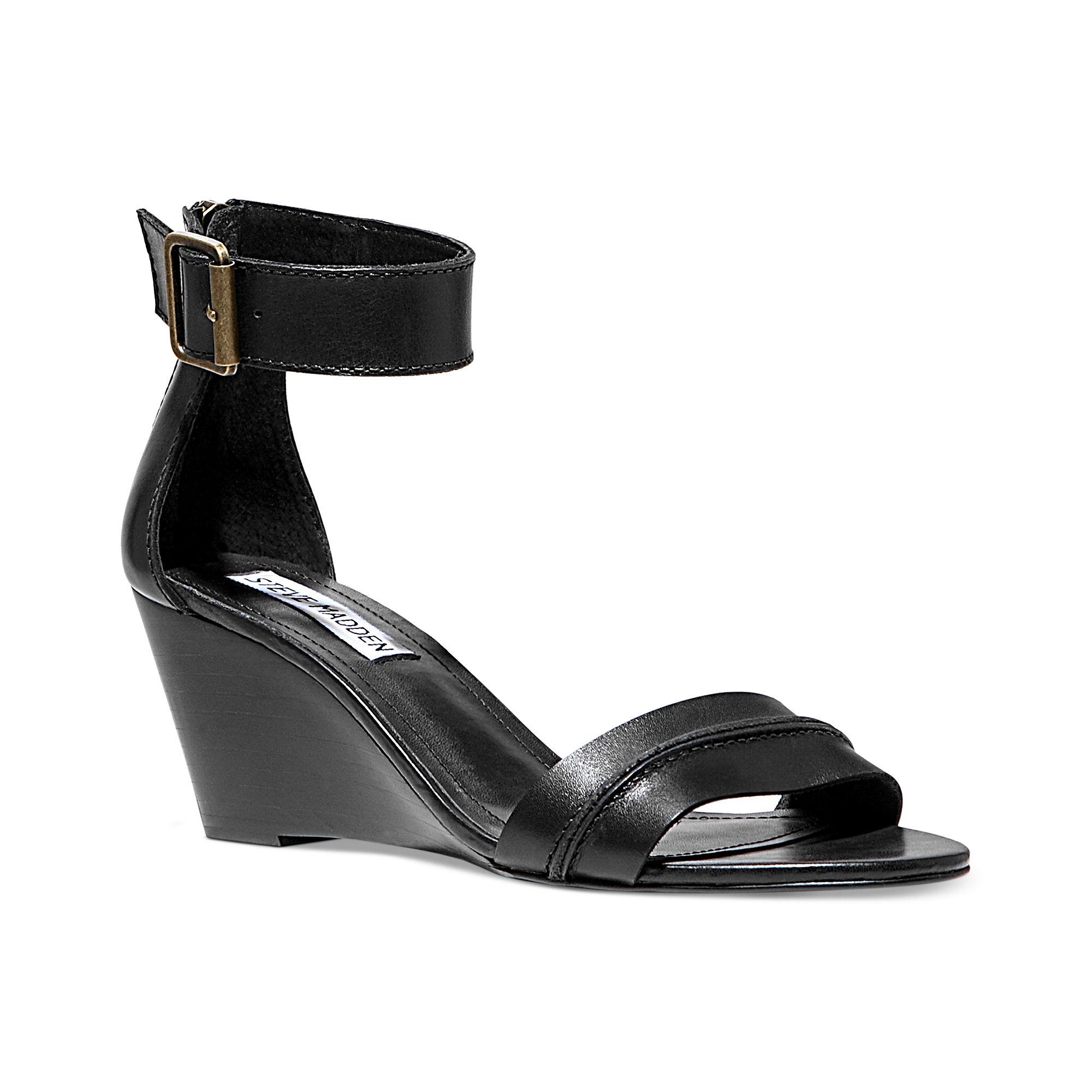Steve Madden Neliee Wedge Sandals In Black Lyst