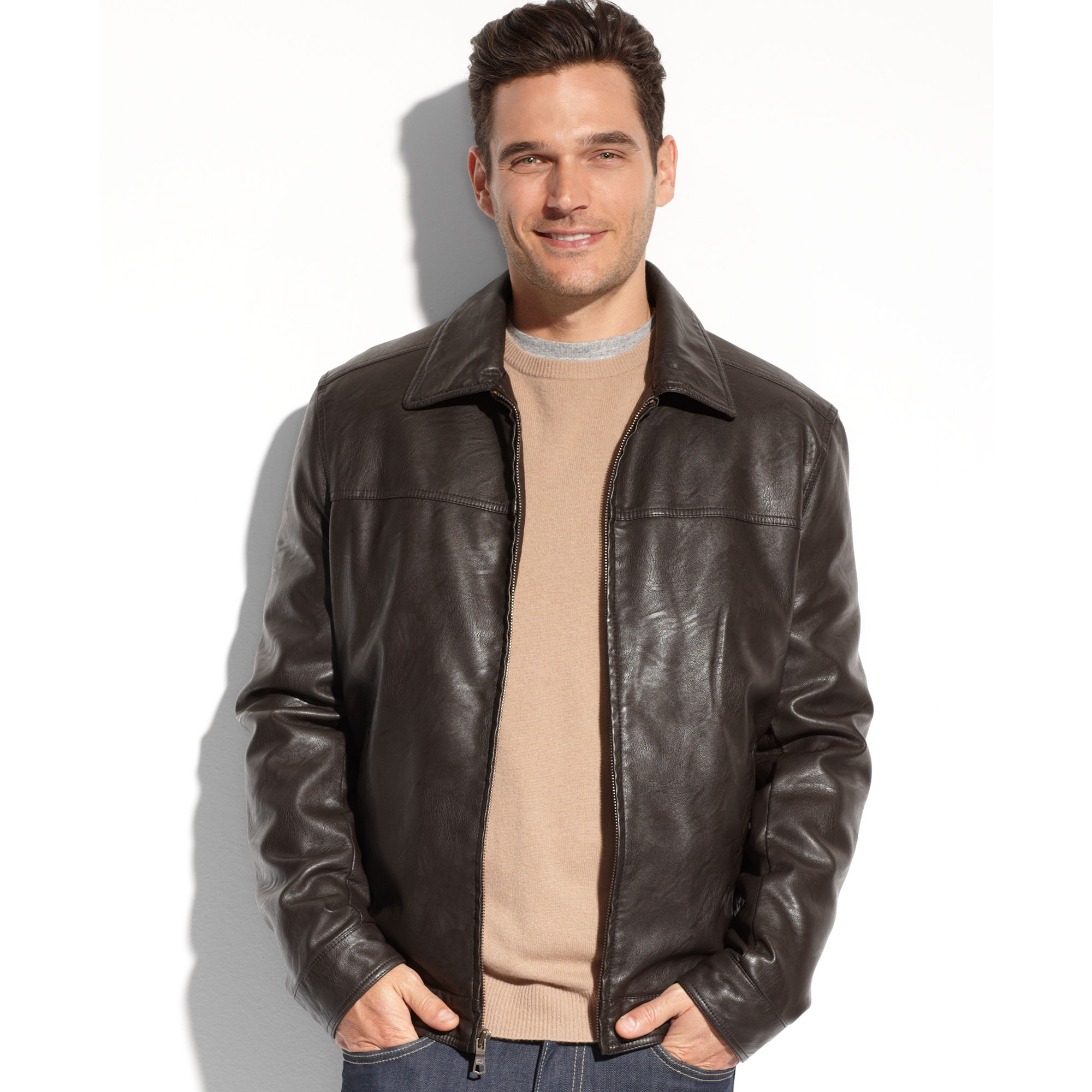Tommy hilfiger Faux Leather Jacket in Brown for Men | Lyst