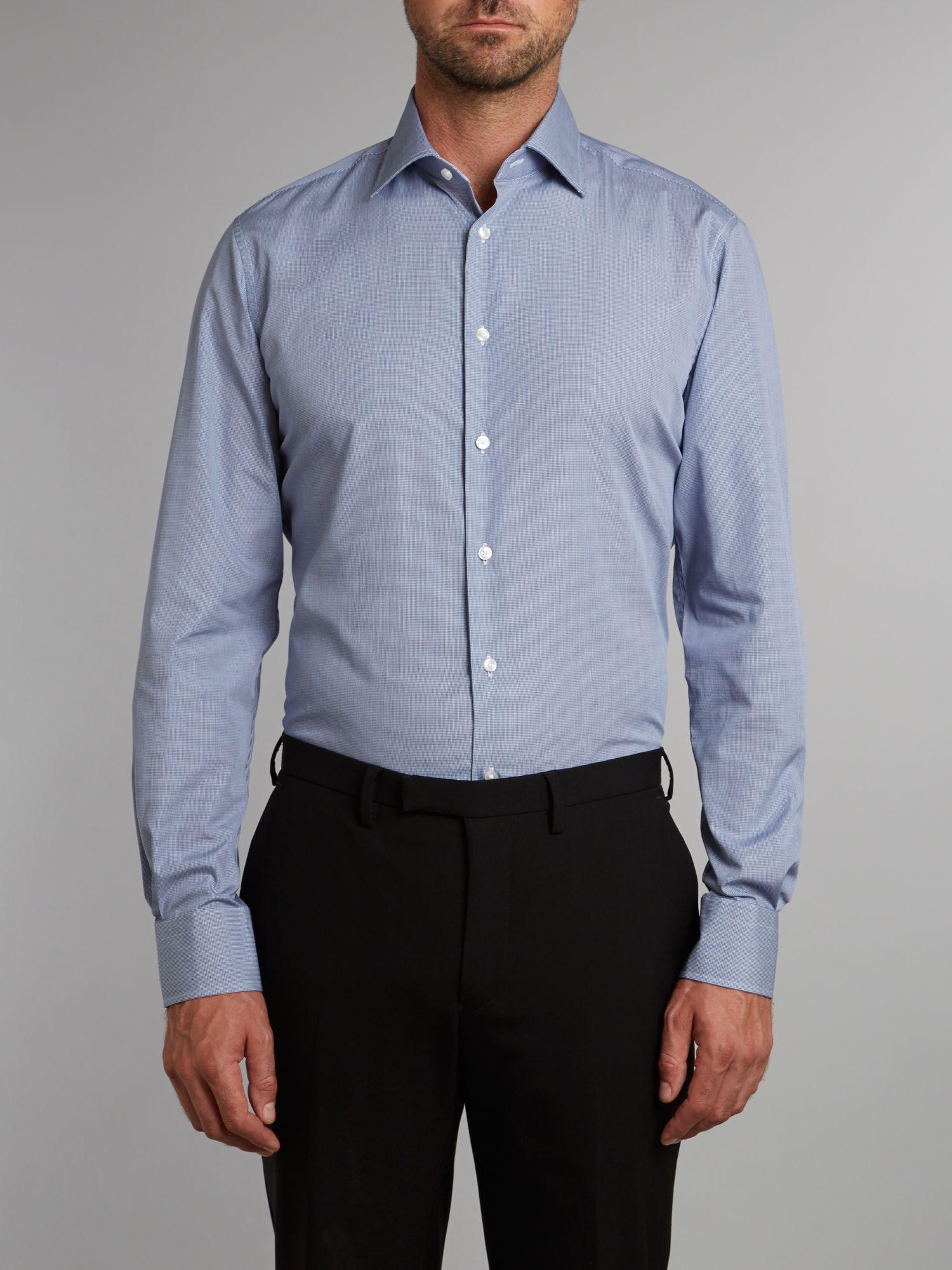 Tommy hilfiger johnny fit mini gingham shirt in blue for for Tommy hilfiger gingham dress shirt