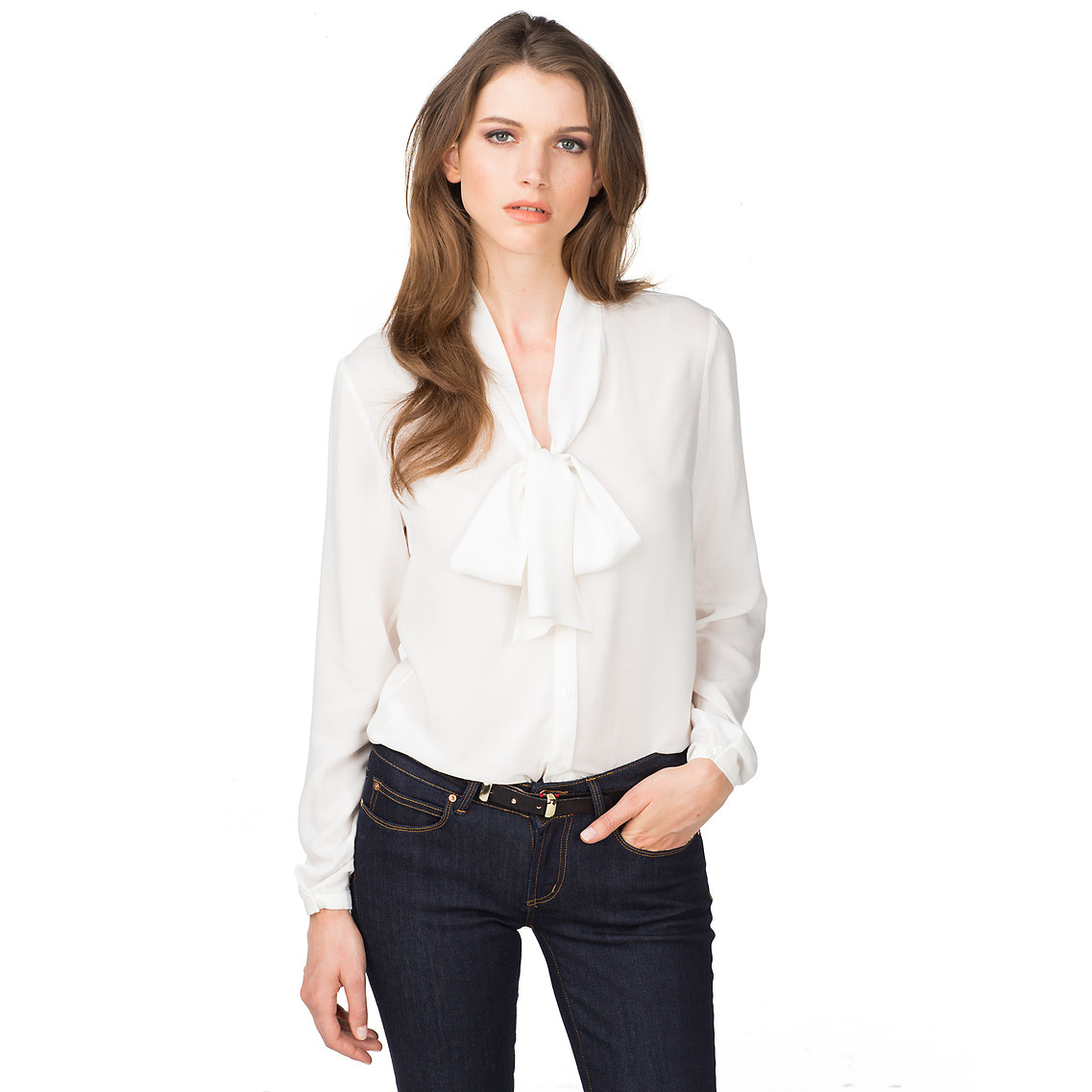 tommy hilfiger valeria soft blouse in white snow white eur lyst