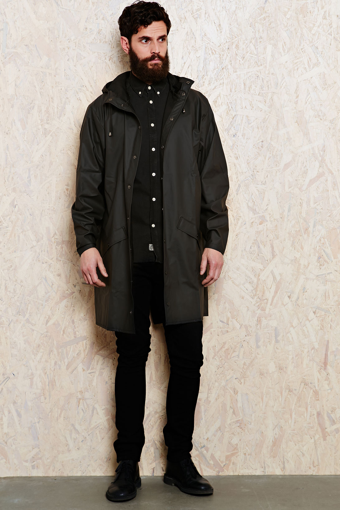 Urban outfitters Rains Long Waterproof Jacket in Black in Black ...