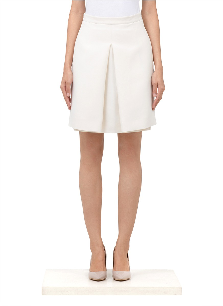 valentino pleated front wool silk skirt in white lyst