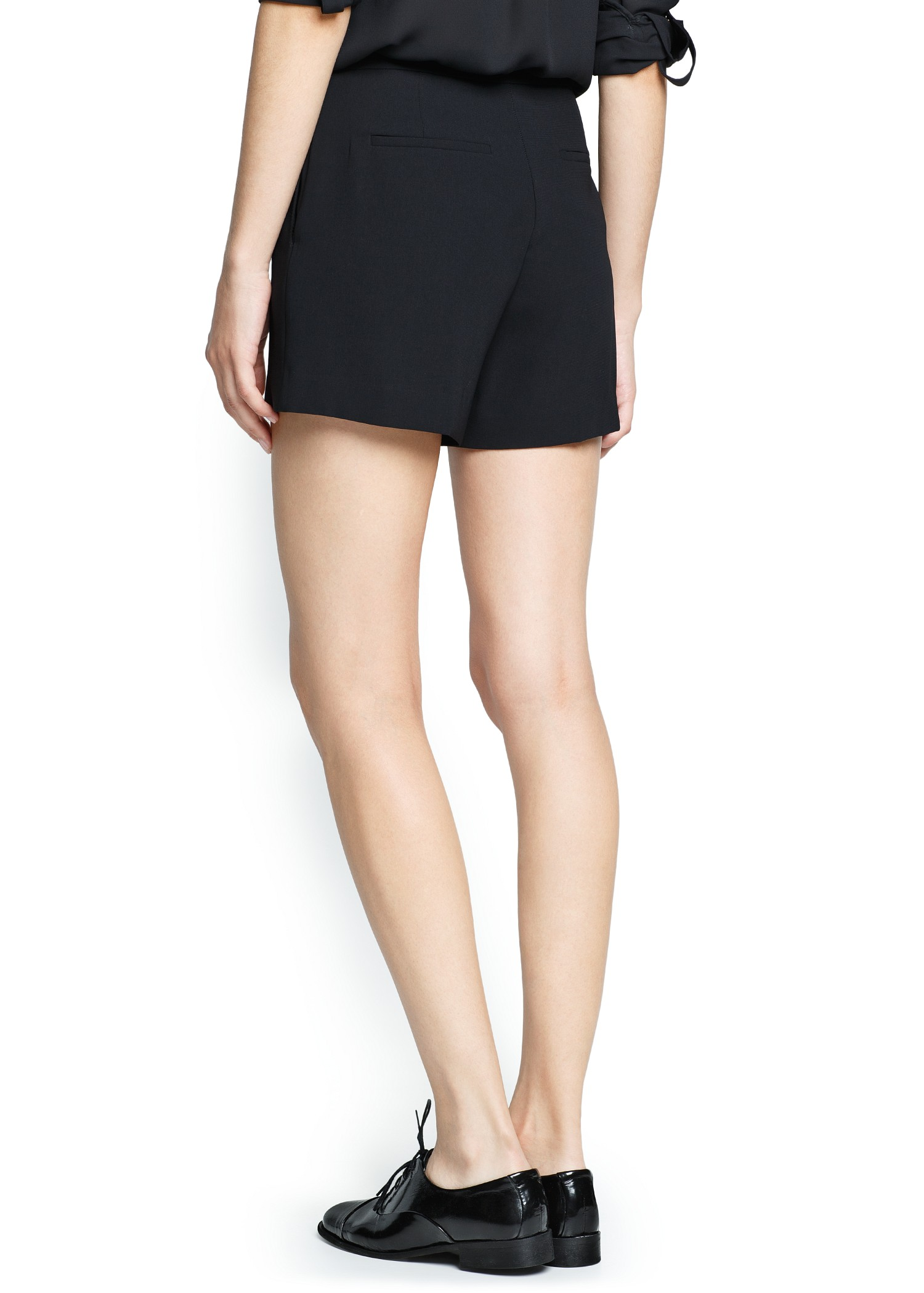 Mango High-waist Flowy Shorts in Black | Lyst