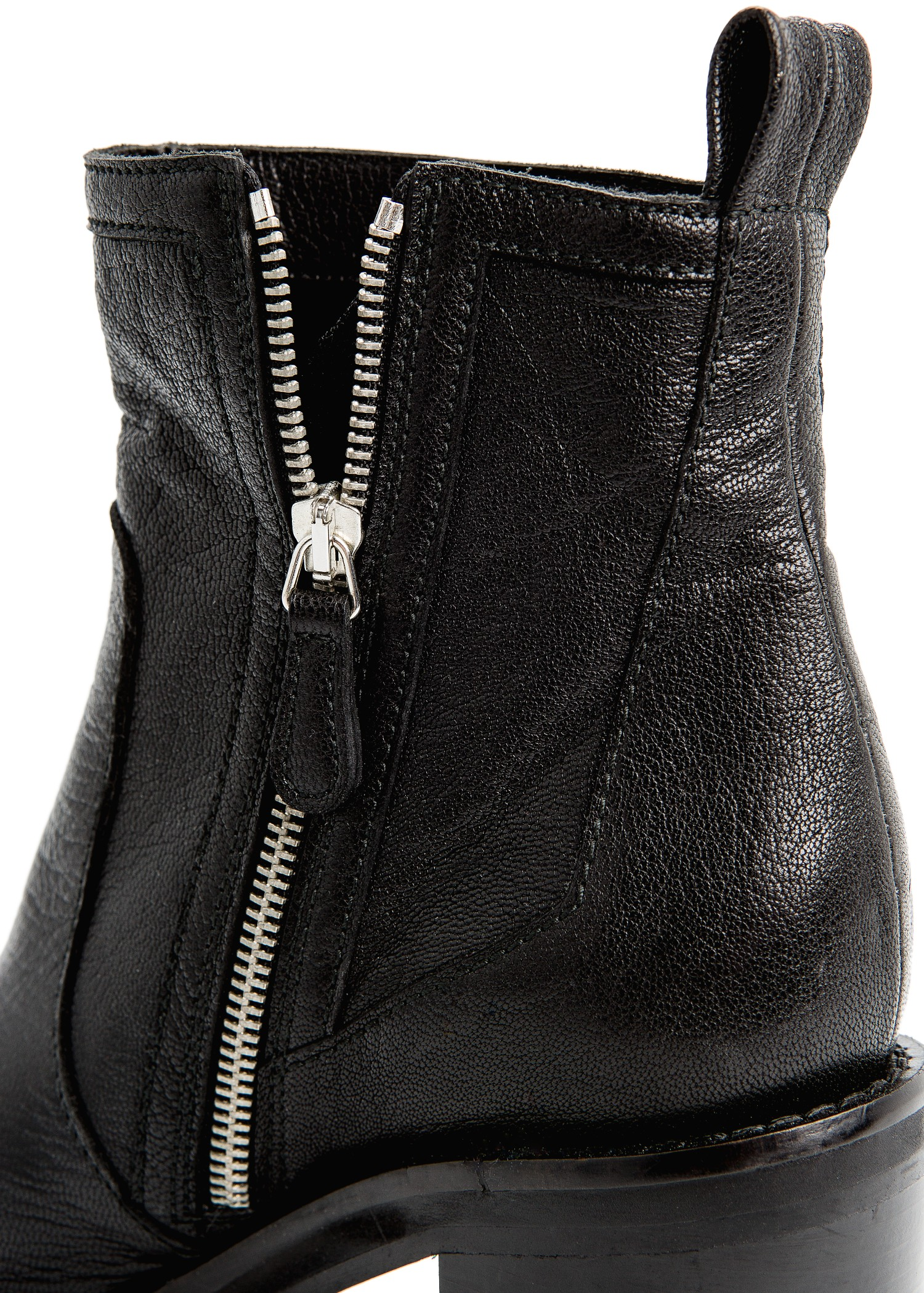 Mango Zipper Leather Ankle Boots in
