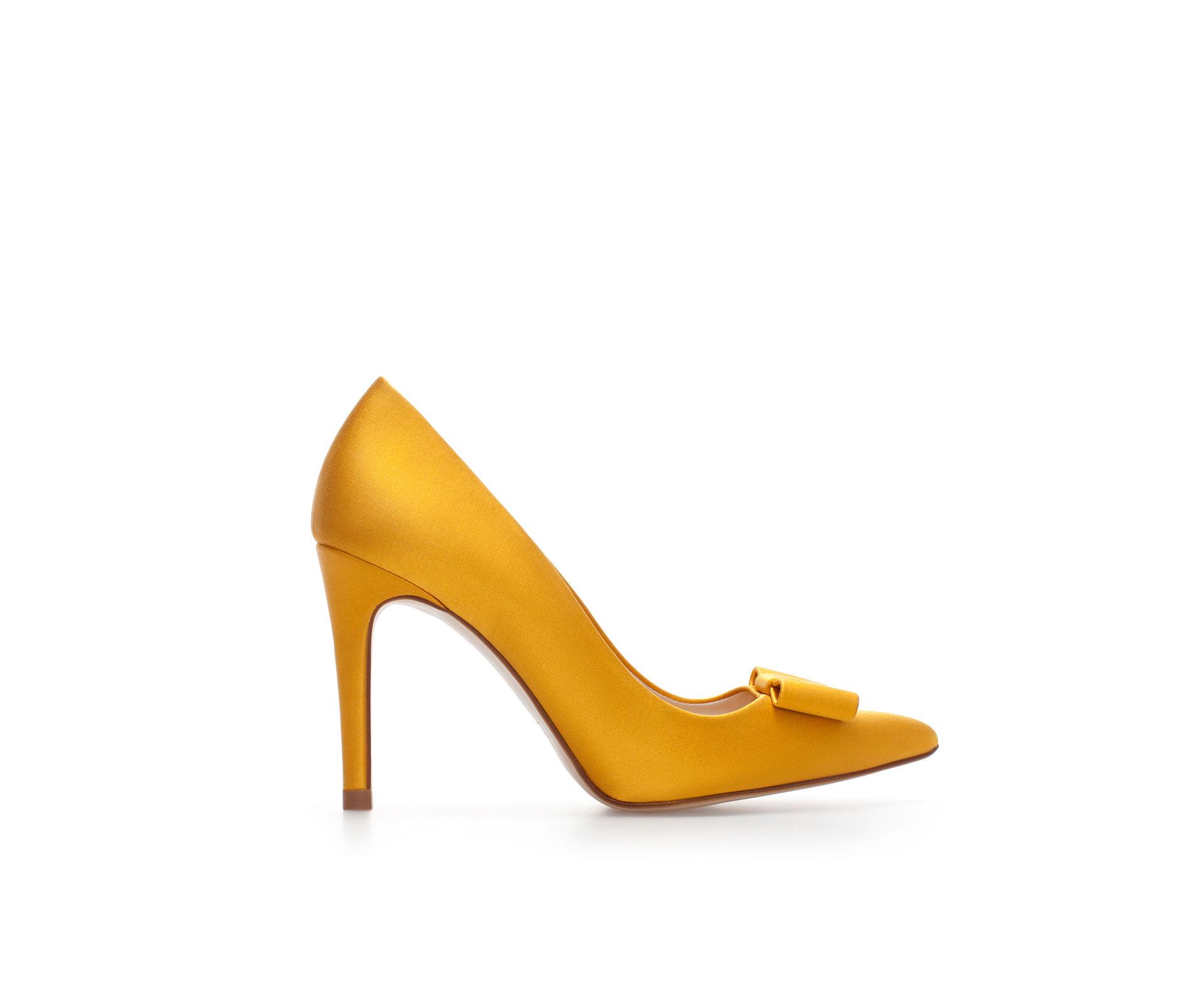 cd5e50e7ada Zara Silk Satin High Heel Court Shoe in Yellow (Mustard)