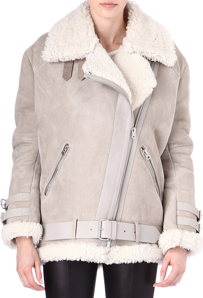 Acne studios Velocite Shearling Coat in Gray | Lyst