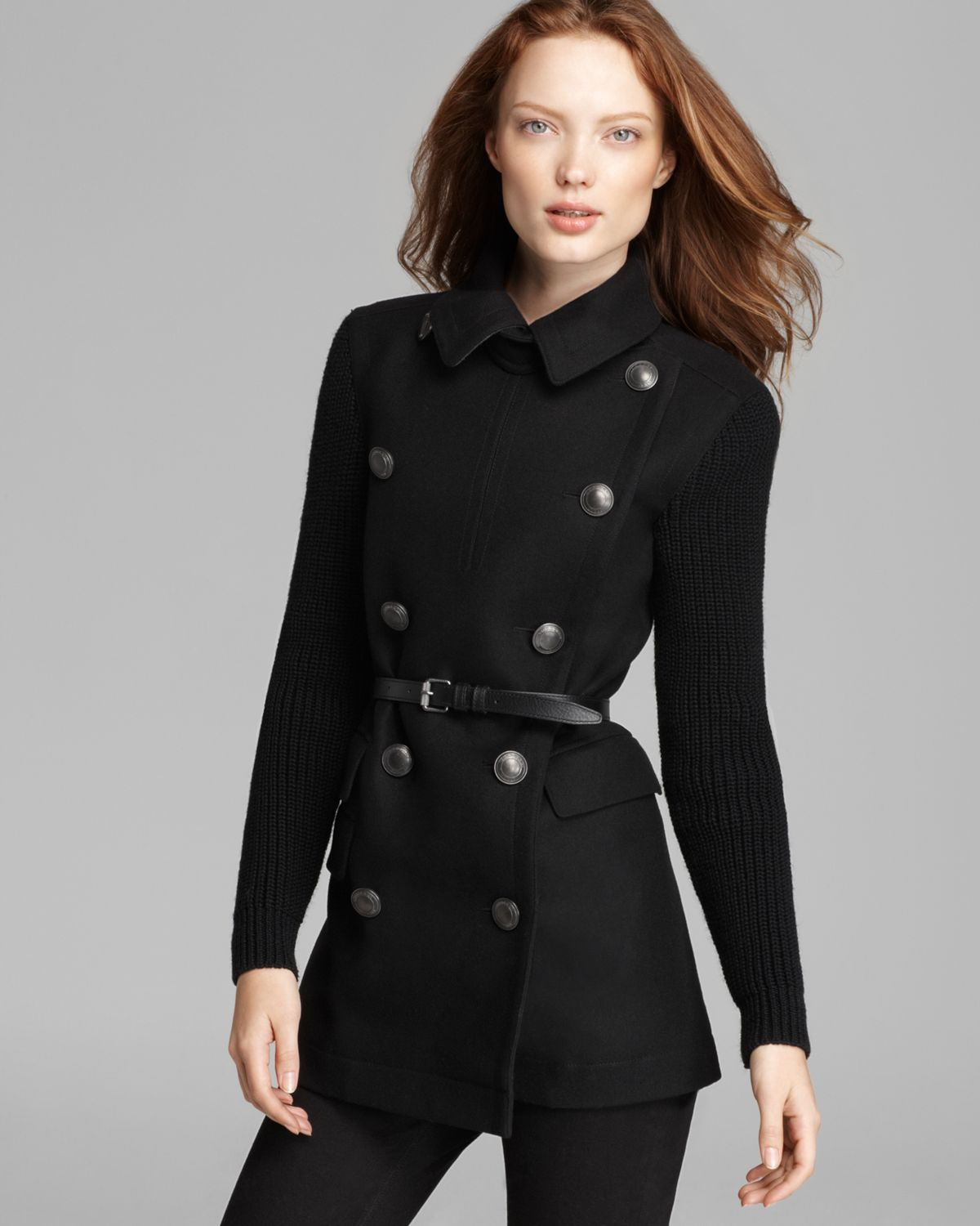 Burberry Gresham Double Breasted Wool Coat with Knit Sleeves in ...