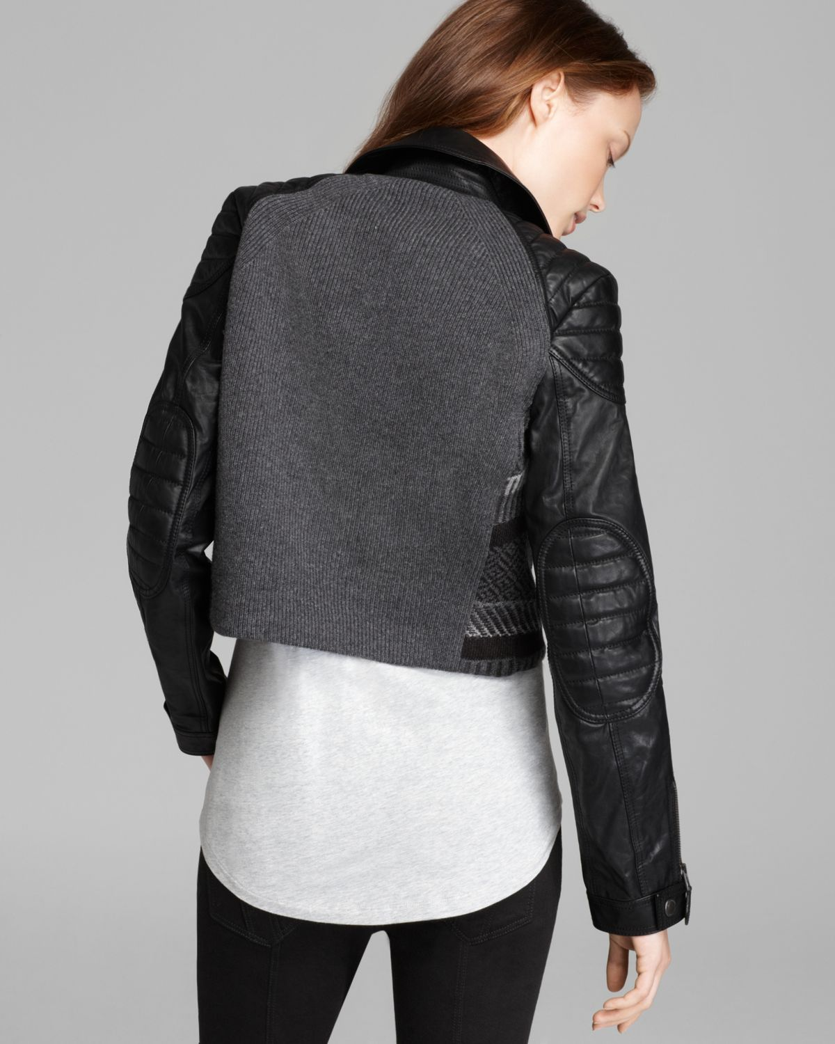Burberry brit Cropped Sweater Moto Jacket with Leather Sleeves in ...