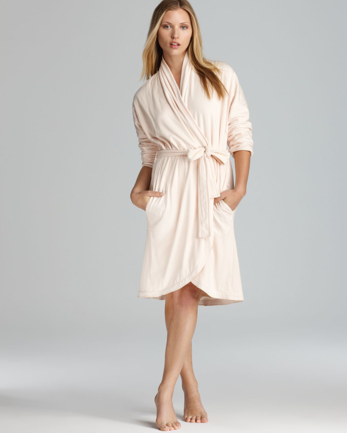 Lyst - Donna Karan Casual Luxe Cotton Knit Robe in Pink 52439090f