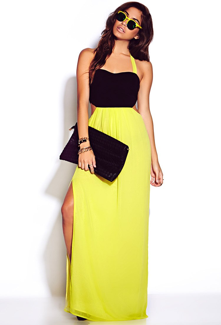 Forever 21 Neon Pop Maxi Dress in Yellow | Lyst