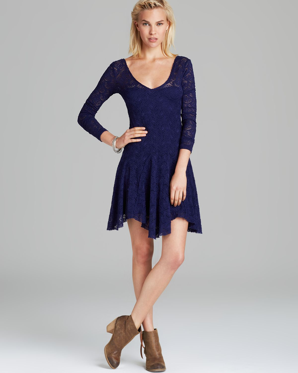 Free people Dress Paisley Lace Katya in Blue | Lyst